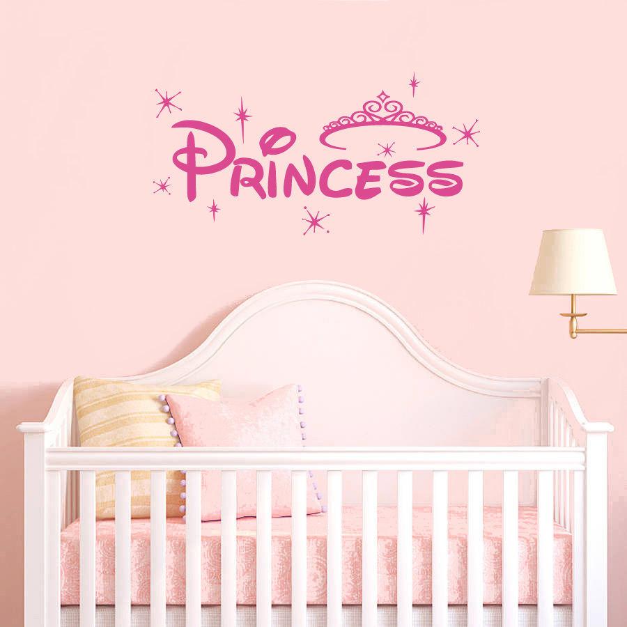Princess Crown Baby Girls Wall Sticker Cute Kids Room Decoration Nursery Star Poster Mural Beauty Sticker For Bedroom W38