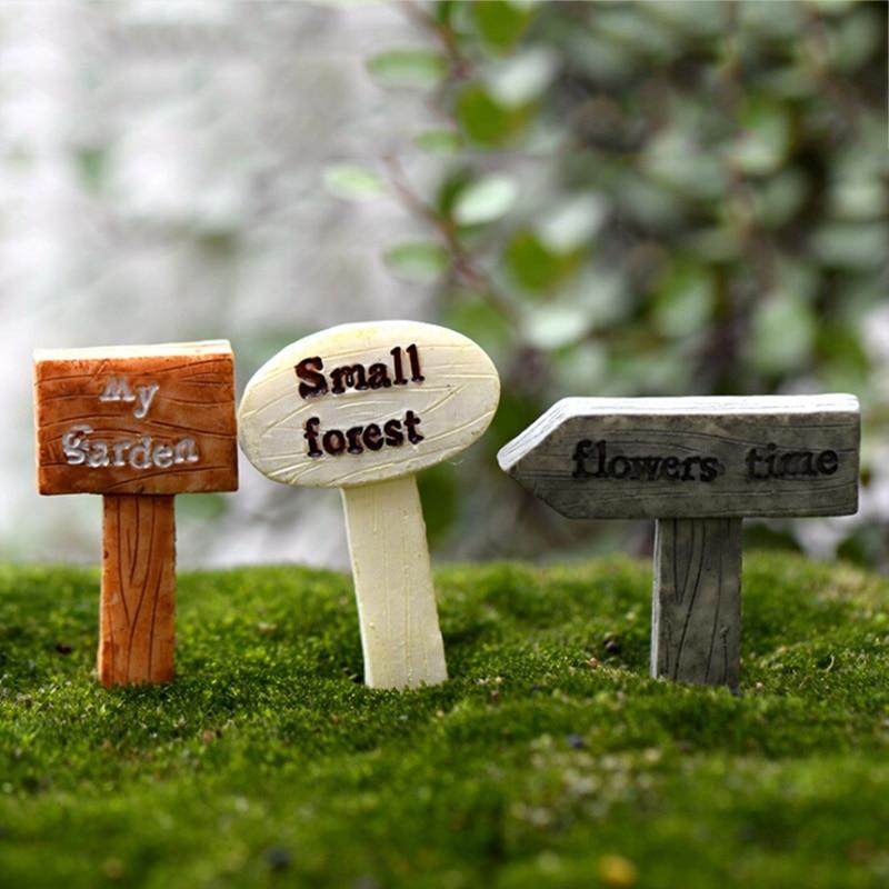 1 piezas de resina de signo junta letrero miniaturas de jardín de hadas Gnome Moss terrario decoración Bonsai figuras Micro paisaje