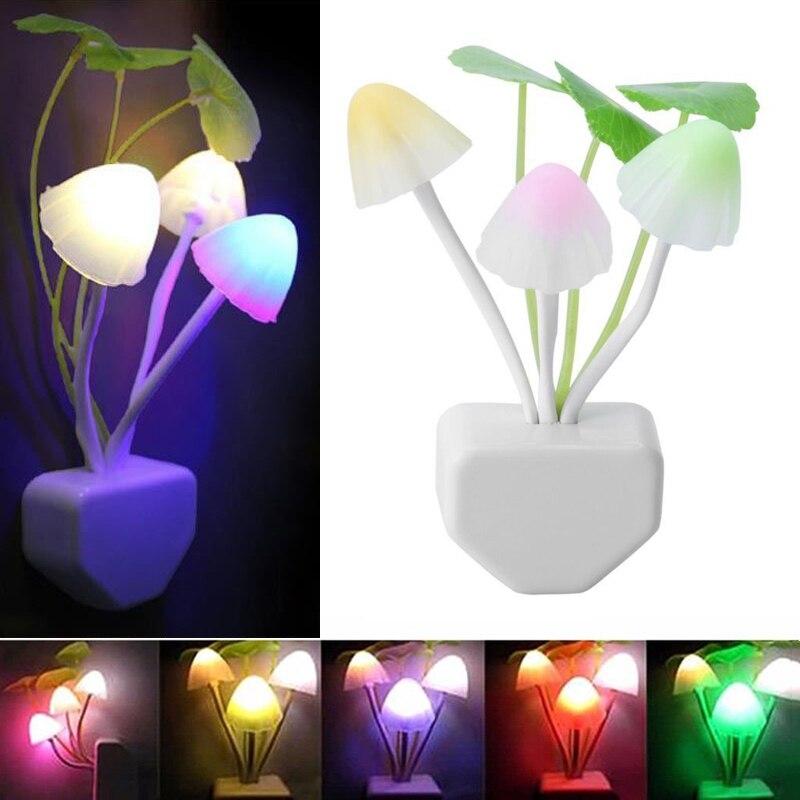 Грибная Ночная лампа, светодиодная лампа, ночные светильники RGB с датчиком От заката до рассвета, лампа для спальни для детей, ночник для детей
