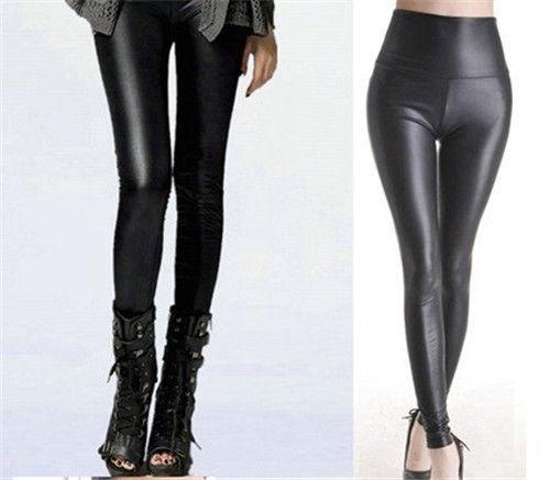 Chegada sexy brilhante metálico cintura alta preto elástico leggings de couro