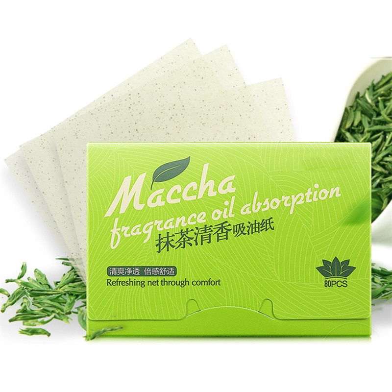 80 unids/pack cara pañuelo de papel de té verde olor limpiador de maquillaje aceite absorbente papel absorber absorbente facial limpiador cara herramienta