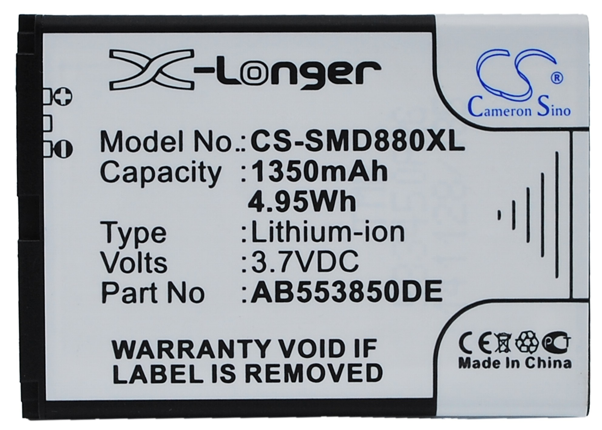 Обновленная батарея 1350 мАч AB553850DC, AB553850DE для Samsung B5702C, B5712C, D880, D880i, D888, D988, I608, W599, W619, W629