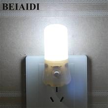 Lámpara LED de noche BEIAIDI de 3W con interruptor, 8 LED, lámpara de noche para dormitorio de bebé, luz de fondo, Bombilla para Baño