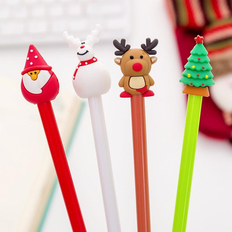 1 шт. Милая мультяшная Рождественская серия нейтральная ручка Творческая ученическая ручка черная ручка для рождества гелевая ручка Милая ...