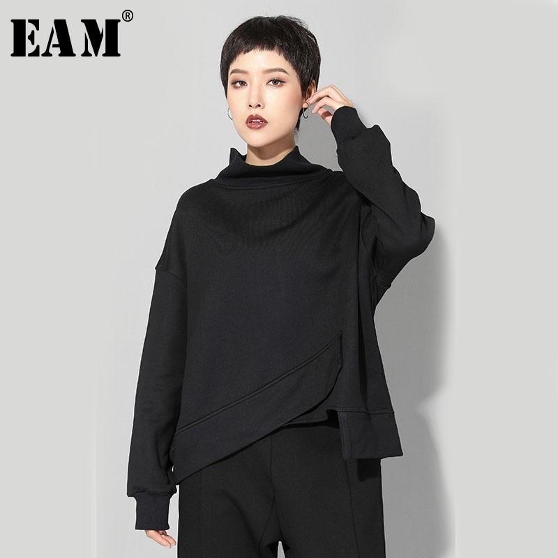 [Eam] 2020 nova primavera em torno do pescoço manga longa preto tamanho grande irregular hem divisão comum camisola feminina moda maré jo061