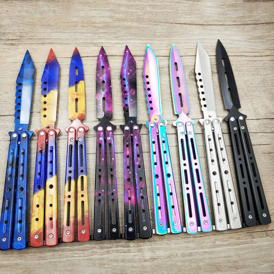 Tytanowy kolor tęczy 5Cr13Mov nóż ze stali nierdzewnej motylkowy nóż treningowy nóż do gry tępe narzędzie bez krawędzi