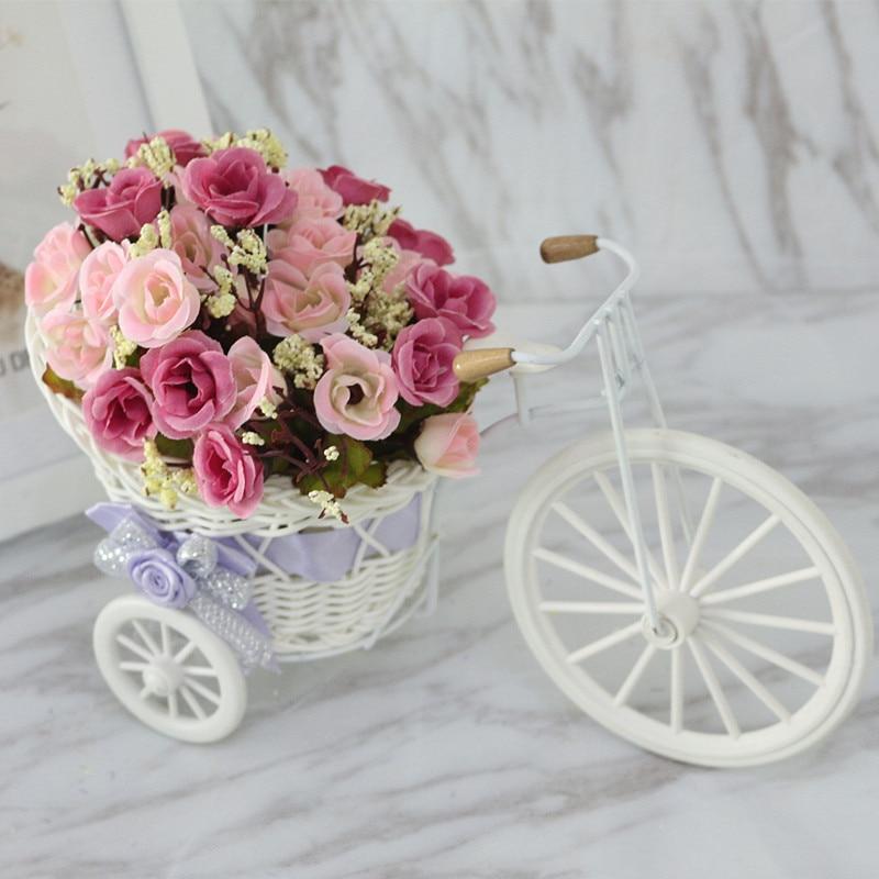 Flone высокое качество искусственный цветок автомобиль моделирование ротанга велосипед цветы набор ваза с цветами домашний офис Декор подарок на день рождения