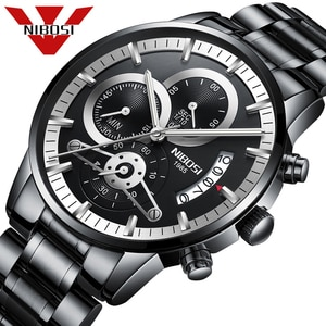 Relogio Masculino NIBOSI Luxury Men's Wristwatches Stainless Steel Sport Clock Man Black Male Watches Top Brand Quartz Watch