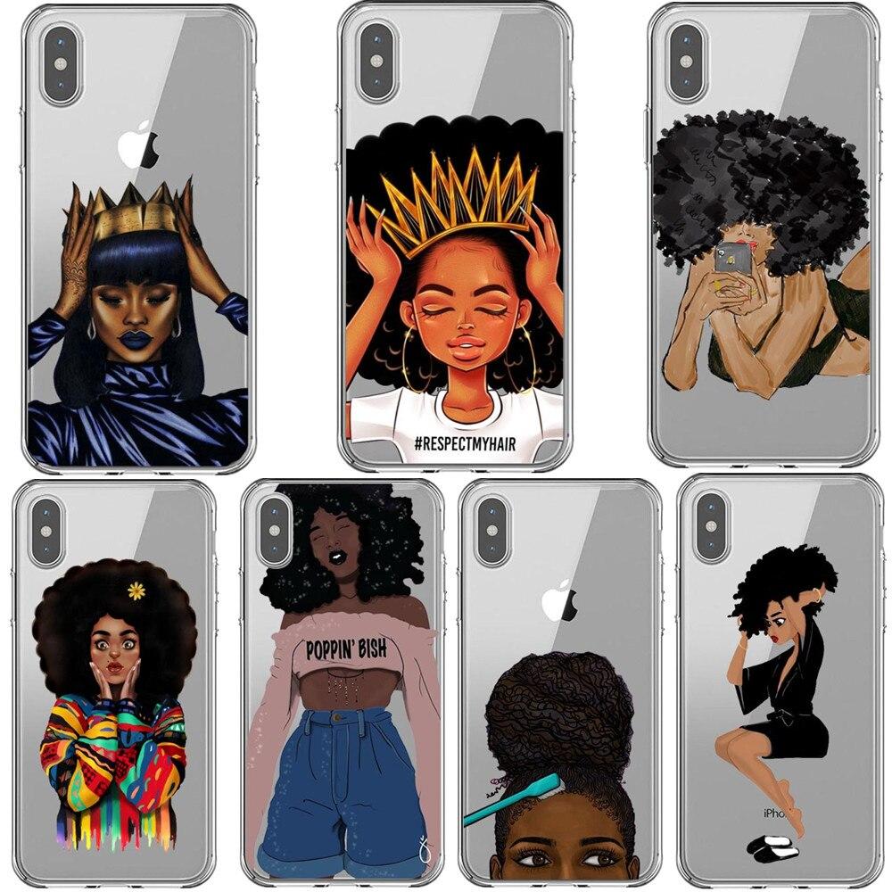 Arte negra Preto Menina Africano Caso de Telefone Para o iphone XS MAX XR Bubble Gum Cabelo Preto Capa Para o iphone 7 8 6 6 s Plus 5 5S SE