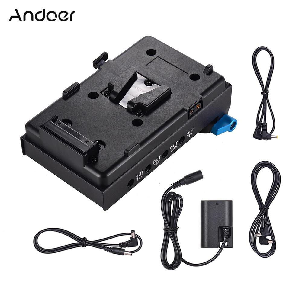 Andoer V v-mount v-lock płytka do baterii Adapter do BMCC BMPCC Canon 5D2/5D3/5D4/80D/ 6D2/7D2 z manekina akumulator fotografia