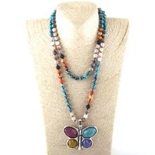 ¡Nuevo! 108 cuentas Mala Multi piedra anudado mariposa encanto colgante collar mujeres meditación collar de yoga