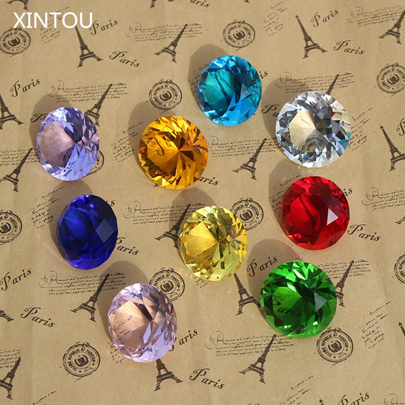 9pcs/set Sparkle Crystal Diamond 3cm Glass Gemstone Jewel Paperweight Feng Shui Home Decor Ornaments Wedding souvenirs Gifts
