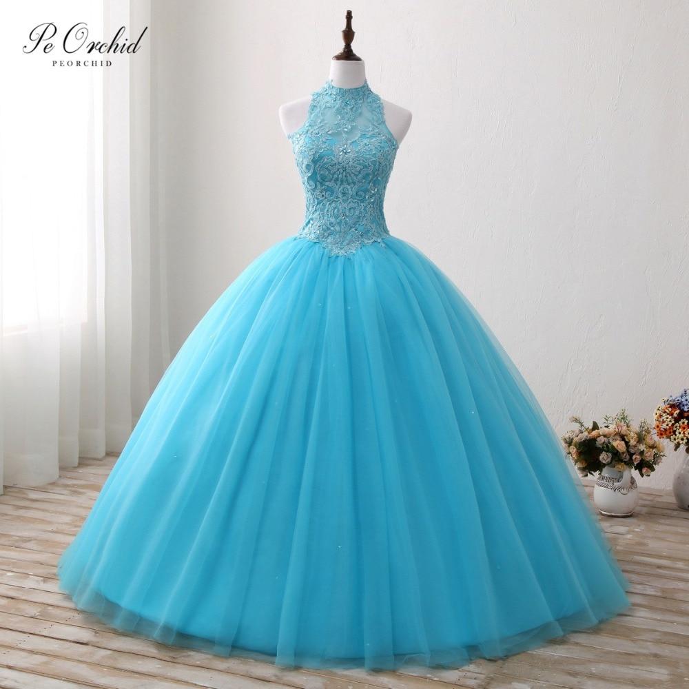 PEORCHID 2019 color azul Quinceañera vestidos De encaje De cuello alto De encaje De tul largo princesa Prom vestidos De baile De 15 Anos
