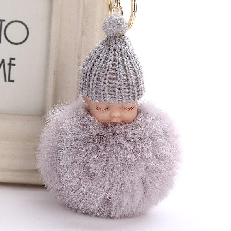 ZOEBER, Bola de piel de conejo de imitación, llavero de muñeco de bebé durmiendo llavero para automóvil con pompón, llavero de bebé, joyería colgante de bolsa Porta llaves para mujer