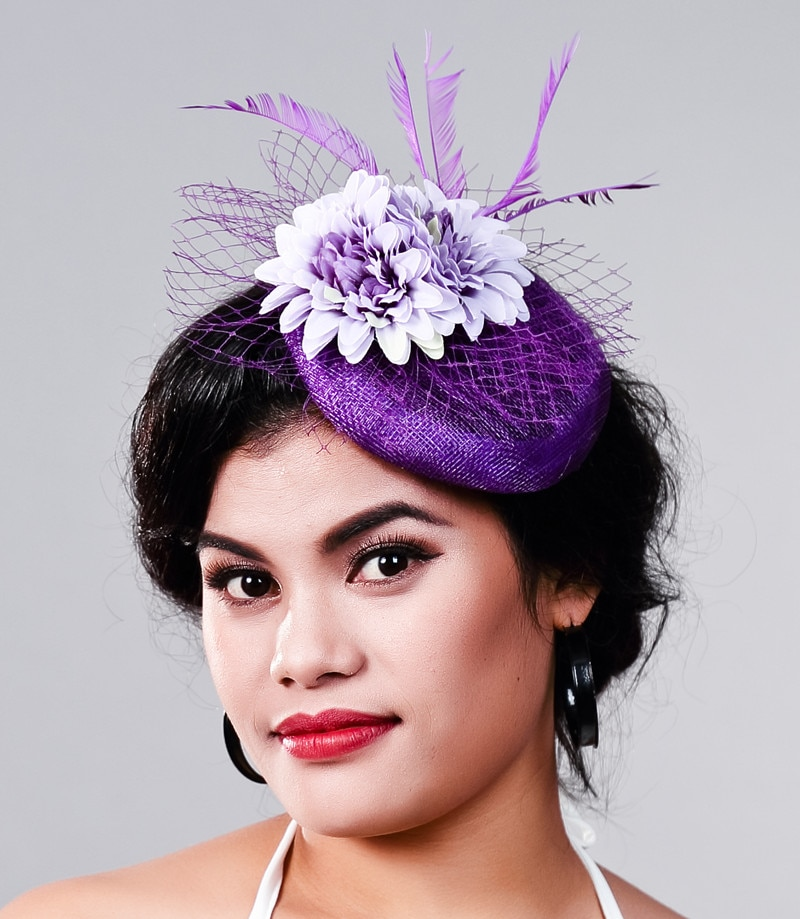 Las señoras elegantes ocasión cóctel fascinator mujeres Flor de seda morada sombreros boda accesorios para el cabello FIESTA DE headwearMD16028