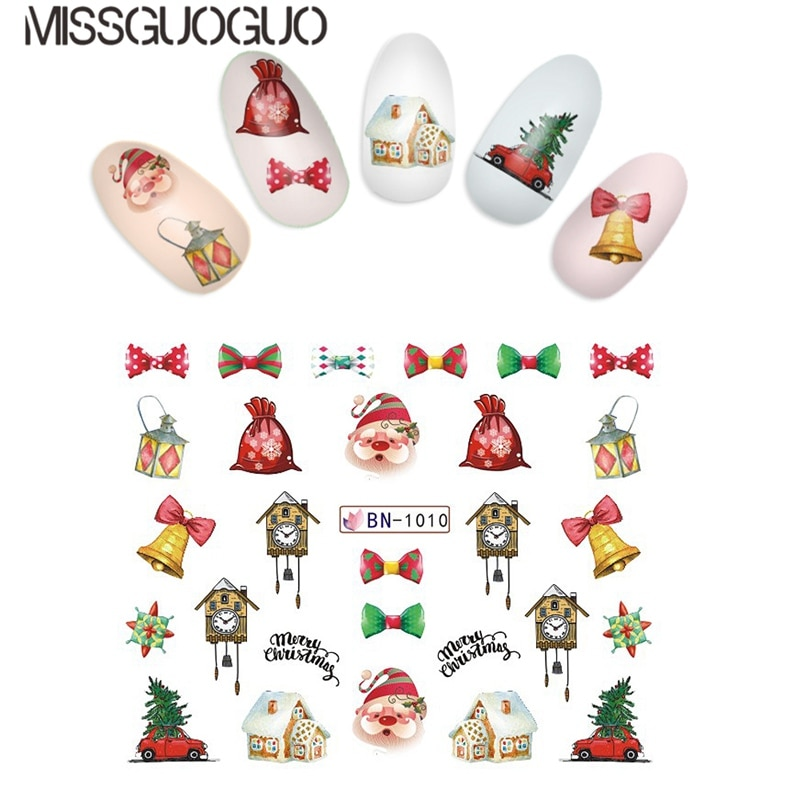 MISSGUOGUO Nail Art Sticker Water Transfer decal Nail Decoration Stickers Christmas Series stickers for nails water decals wraps