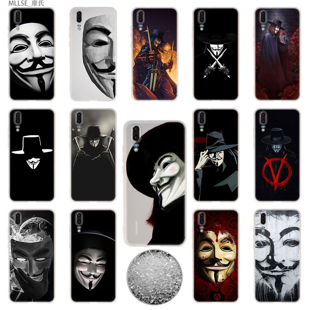 TPU Cover Phone Cases Soft For Huawei P40 P30 P20 pro P10 Plus P9 P8 lite 2017 samrt Z 2019 V for Vendetta Mask rose