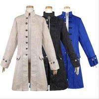 17th 18th century gothic steampunk men jacket medieval winter autumn jacket coat costume for men plus size blue black white 2xl