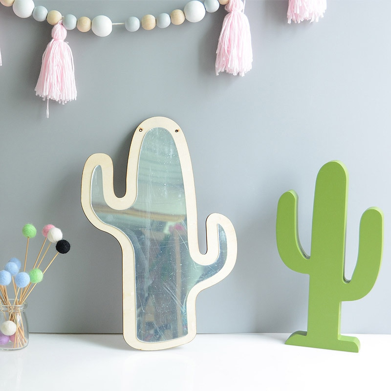 Espejos decorativos de acrílico nórdico, arte reflectante creativo para niños, pared de hogar, manualidades decorativas, utilería para cámara de bebé, espejo con lazo de conejo