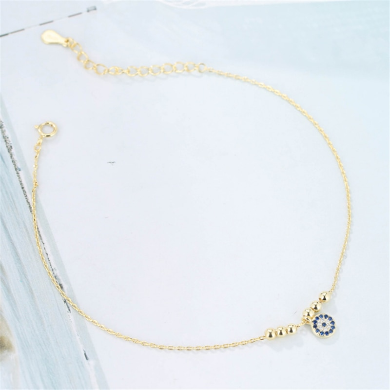 Evil Eye  Stamped Transfer Beads Bracelet Turkish Eye Nazar Charm Bracelet for Women female CZ Jewelry Best Friend Gift SL166