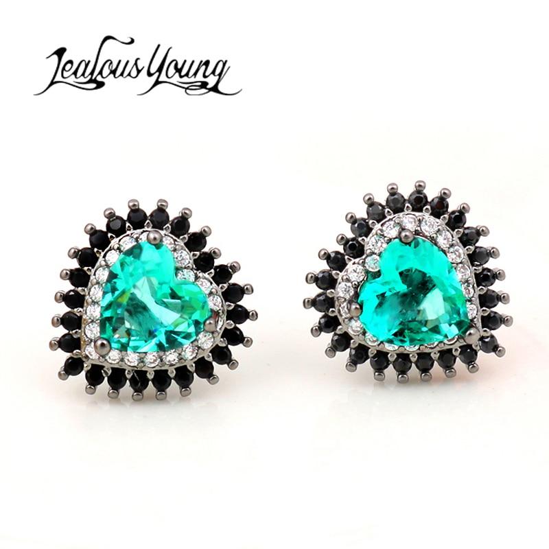 Pendientes bohemios Vintage de circonita cúbica con forma de corazón verde para mujer, pendientes de cristal bonitos, joyería de moda 2017, pendientes negros