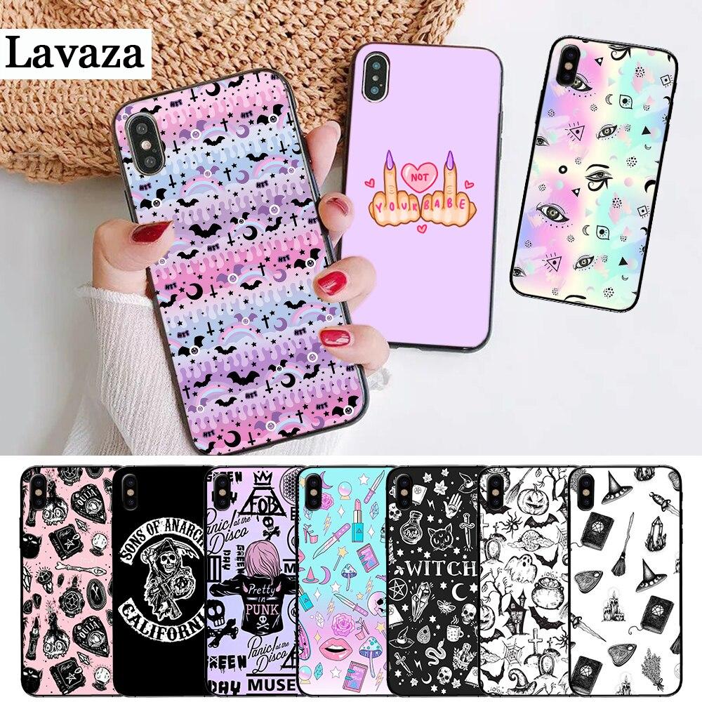 Pastel femenino bruja Goth oferta especial de lujo funda de silicona para iPhone 5 y 5s 6 6S Plus 7 8 11 Pro X XS Max XR