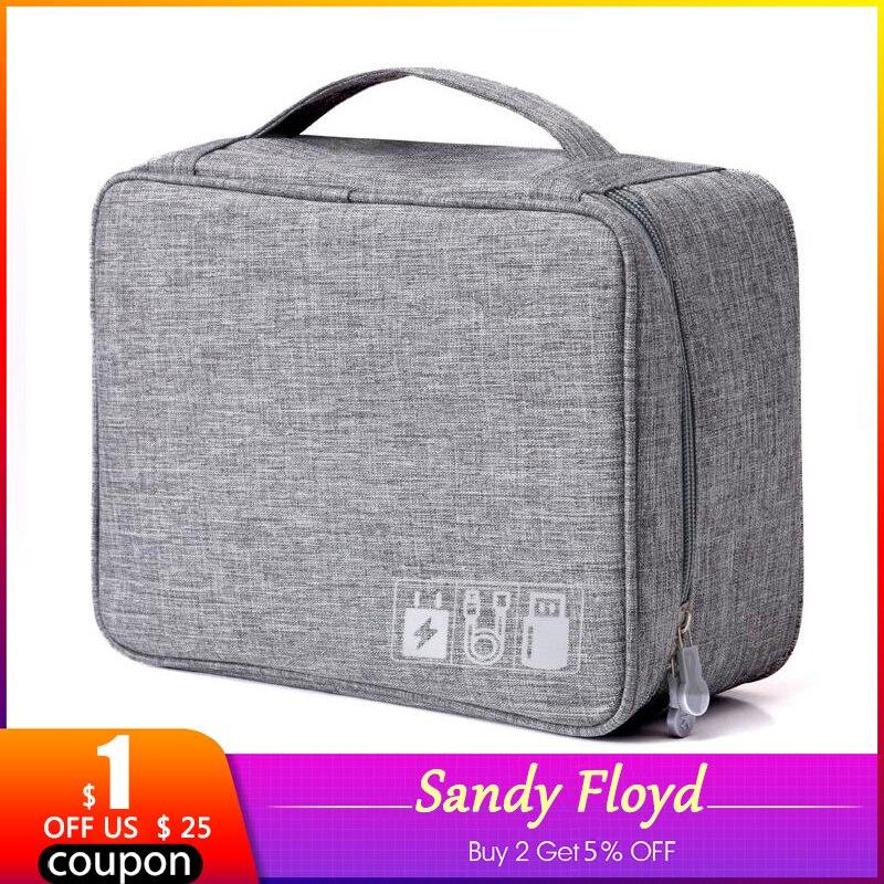 SandyFloyd bolsa de almacenamiento de viaje accesorios electrónicos dispositivos de Gadget Digital divisor Kit organizador Cable de datos U banco de energía de disco