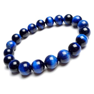 Wholesale Women Man Genuine Natural Blackl Blue Tiger's Eye Gems Stone Stretch Charm Round Bead Bracelet 10mm 12mm 14mm