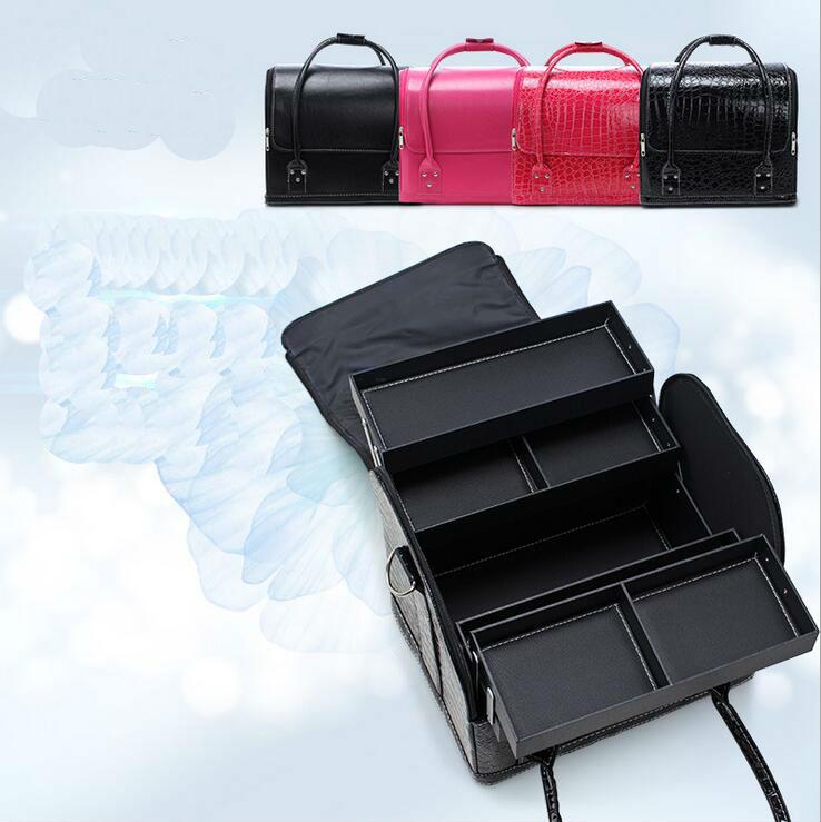 2017 Novo Tipo PU maquiagem caso beleza munsu caixa prego caixa de grandes multi-duplo para abrir a caixa de ferramentas portátil bolsa de maquiagem