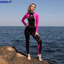 Hisea 3mm qualidade neoprene profissional uma peça wetsuits mergulho térmico caça submarina surf magro bodysuit completo