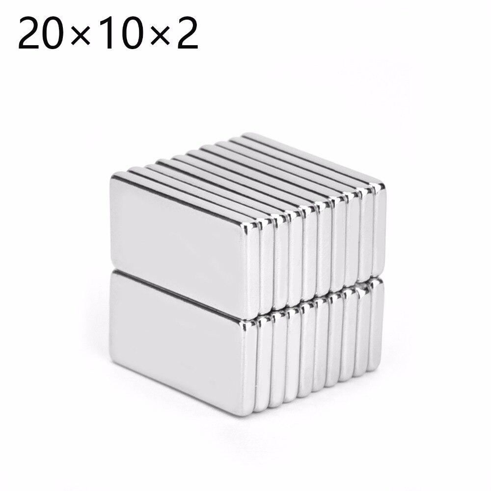 Imán cuadrado de nevera cúbica de 20x10x2mm 20x10x2 de 500 Uds. 20x10x2 conexión de Arte de neodimio de tierras raras envío gratis