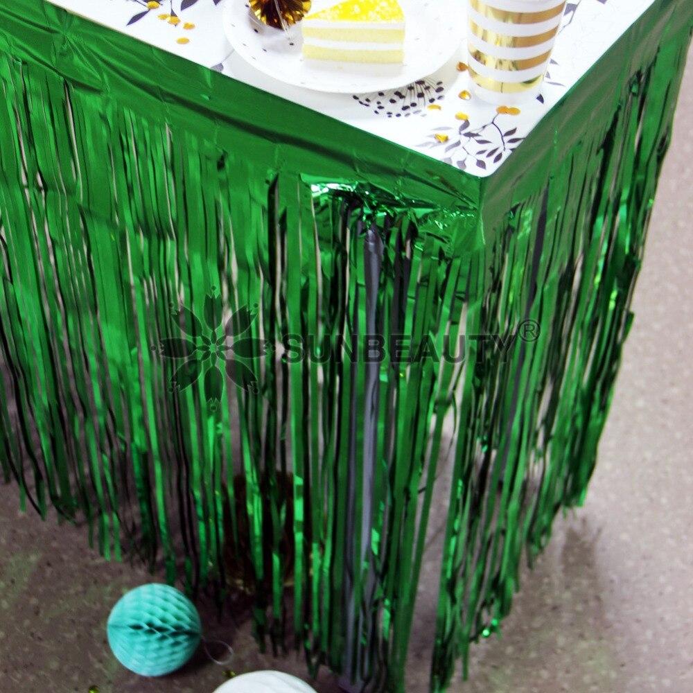 1pc folha de franja metálica saia de mesa porta cortina verão selva tema decorações feliz aniversário fontes festa casamento