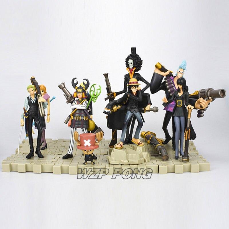 9 unids/set una pieza sombrero de paja piratas ropa negra batalla Ver figuritas muñecas juguetes PVC figura de acción juguete de modelos coleccionables