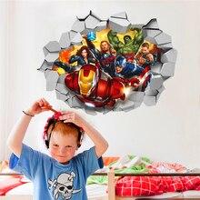% 3d marvels Avengers Film durch wandaufkleber für kinderzimmer wandtattoos cartoon super hero wandkunst dekor diy 45*60 cm poste