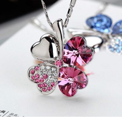 Colgantes de cristal de la suerte de la moda cuatro pendientes de hoja collares para las mujeres joyería