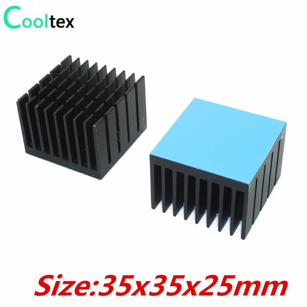 5 stücke 35x35x25mm Aluminium Kühlkörper Kühlkörper Kühler Für Elektronische Chip IC LED Mit Thermal Conductive Tape