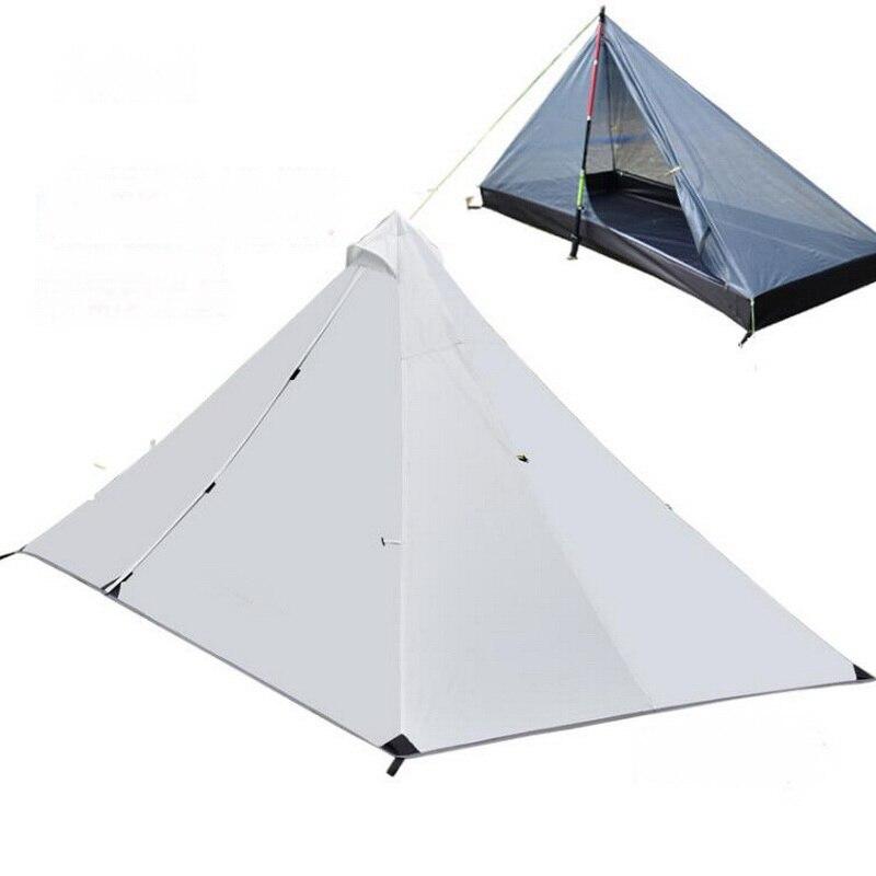 Quarto e uma barraca de acampamento ao ar livre. Sem haste tenda ultra light equipamentos de porta dupla barraca de camping à prova de vento e à prova de chuva leve