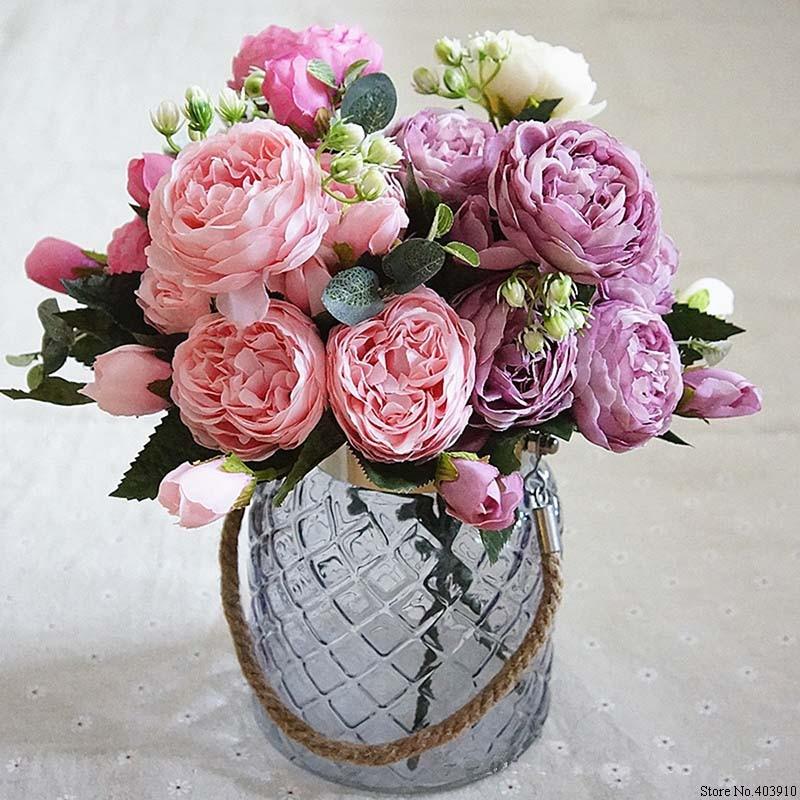 Flores de seda artificiais pequenas de rosas, peônia, flor falsa de decoração para casa, festa de casamento, decoração de primavera 2019