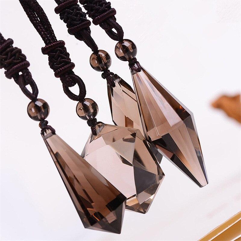 Piedras Naturales ahumado, colgantes de cuarzo collar de cuerda marrón de cristal de cuarzo citrino piedras preciosas de energía, regalo de amor de punto estrella