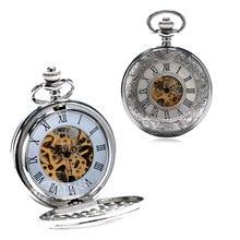 Classique rétro creux romain nombre conception Fob montre de poche mécanique main vent hommes femmes horloge avec chaîne rugueuse meilleur cadeau