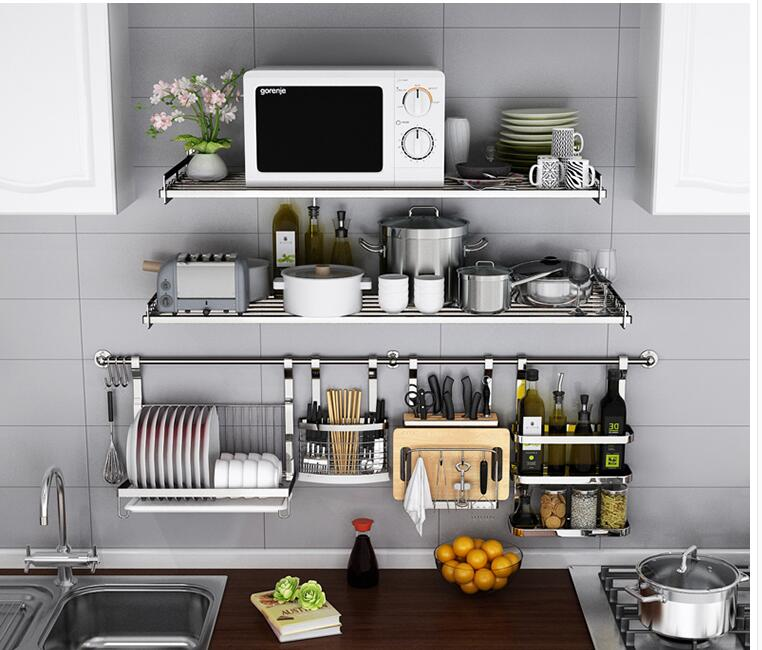 304 stainless steel kitchen rack wall mounted wall microwave oven wall of electric rice cooker oven receive the shelf.006