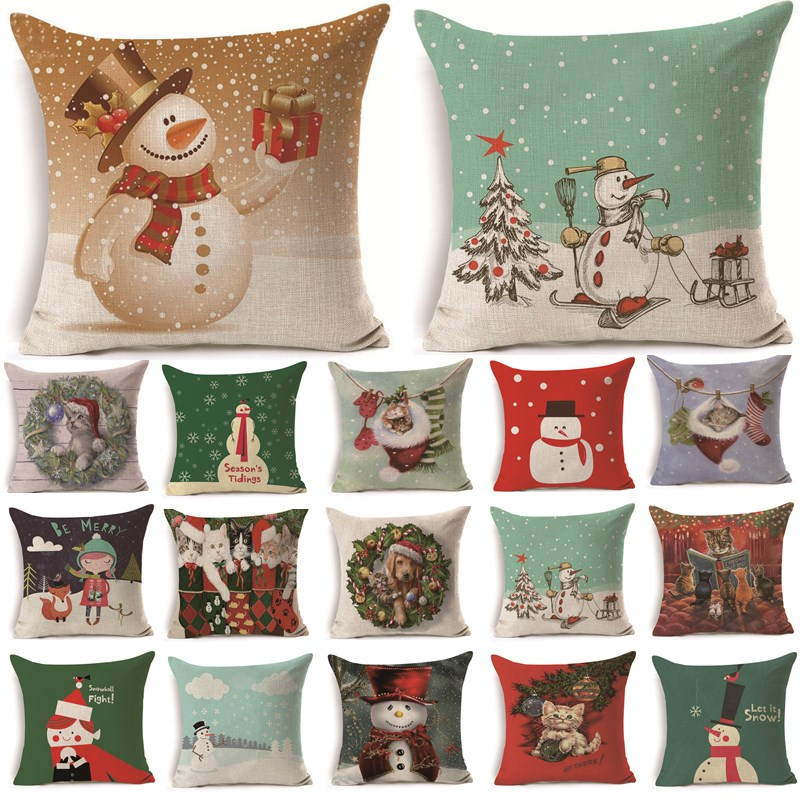 1 Uds 43*43cm Navidad perro muñeco de nieve patrón algodón Lino cojín funda coche hogar sofá decorativo funda de almohada 40476