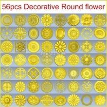 56 unids/set decorativo redondo flor 3d modelo STL alivio para cnc formato stl 3d modelo para cnc STL alivio artcam vectric aspire