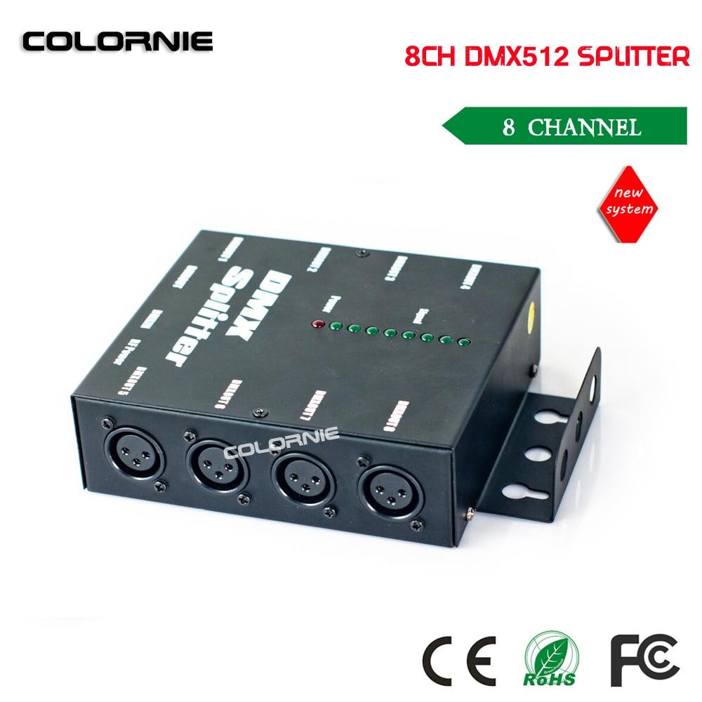 Free shipping HOT sale DMX 8 Channel DMX Splitter DMX512 Light Stage Lights Signal Amplifier Splitter 8 way DMX Distributor