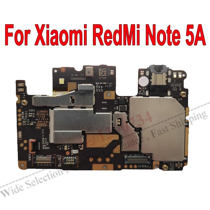 اللوحة الأم الإلكترونية الأصلية لـ Xiaomi RedMi Note 5A ، لوحة البرامج الثابتة العالمية الأصلية ، غير مقفلة ، مع كابل مرن
