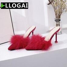 Zapatos de mujer nuevo 2019 Sexy tacones altos zapatos de cuña Stiletto zapatillas de señora la pluma de gamuza deslizamientos de tacón alto 8,5 cm