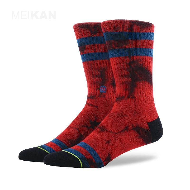 PEONFLY Beautiful Cool Skateboard Hip Hop Dots Stripes Patchwork Pattern Fashion Brand Happy Socks Men Boys Male Cotton Socks