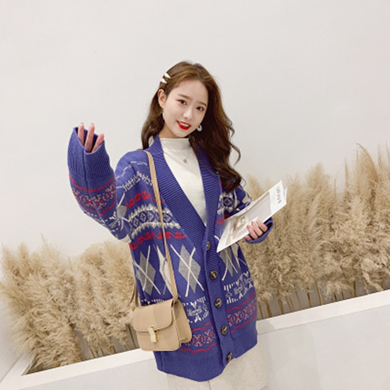 2019 Spring New Women's Large Size Long Sweater Coat Women Thick Knit Coat Cardigan Casual Fashion V-neck Loose Type enlarge