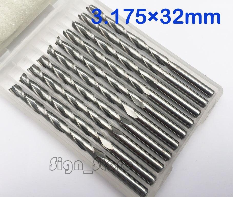 10 unids/lote 3.175X32mm brocas en espiral de carburo CNC de dos flautas para fresadora de corte herramienta de corte de fábrica envío gratis