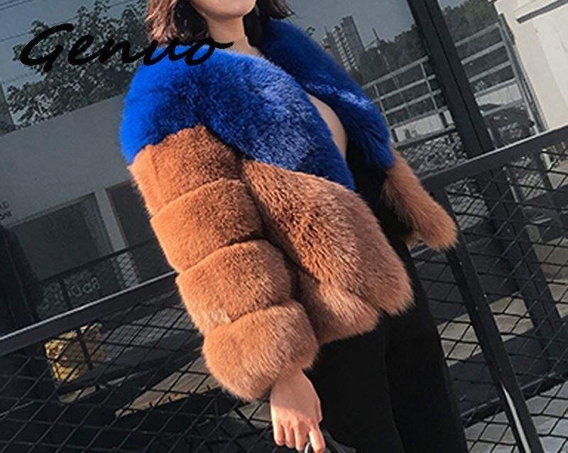 Genuo nuevo abrigo de piel de zorro de imitación de lujo 2019...